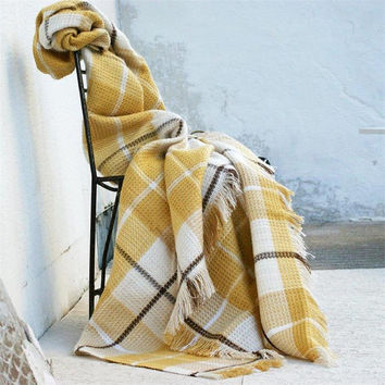 Mustard checkered throw blanket,Twin blanket,Sofa throw,White,Turkish blanket,Mustard blanket,Throws for sofa,Home Decor,Throw blanket,