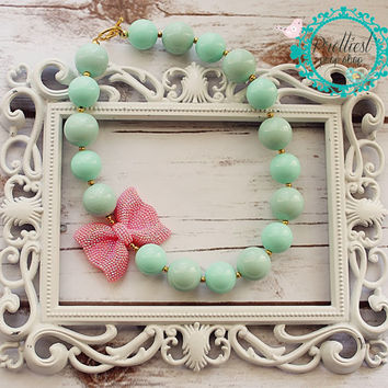 Pink and Mint Chunky Necklace, Pink, Mint and Gold, Chunky Necklace, Cake Smash Prop, Photo Prop, First Birthday