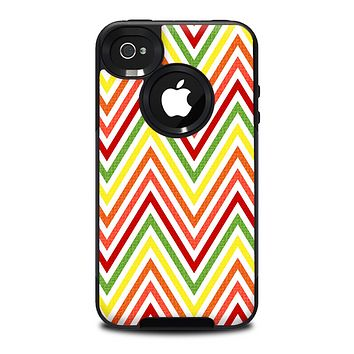 The Yellow & Red Vintage Chevron Pattern Skin for the iPhone 4-4s OtterBox Commuter Case