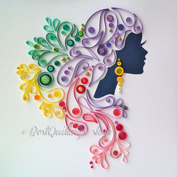 "Quilling Art: ""Graceful Dame"" Charismatic Lady Colourful Paper Art Wall Art and Deco"