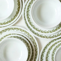 Corelle Spring Blossom 22 Piece Dinnerware Set, 6 Place Setting Set, Corelle Ware Green Daisy Dinner Plates, Salad Dessert Plates, Bowls