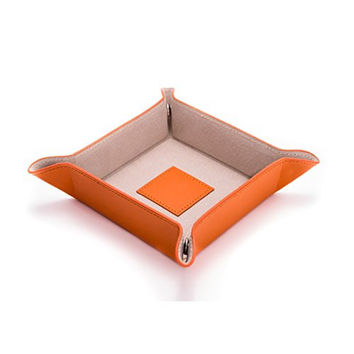 Bey Berk Orange Lizard Print Leather Snap Catchall Valet Tray with Pig Skin Leather Lining
