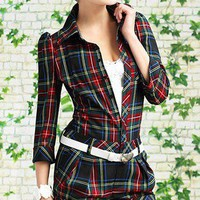 Retro Inspired Black And Red Gingham Buttons Romper. Plaids Romper