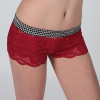 FOXERS - Houndstooth Red Lace Boxers