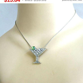 SALE Green & Clear Rhinestones Martini Glass Pendant Necklace Vintage