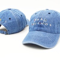 Real Friend Denim Dad Hat Women Men Fashion Baseball Cap Hip Hop Women Men Adjustable Strap Back Trucker Bone casquette