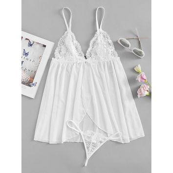 Contrast Lace Slip Dress With T-Back Thong WHITE