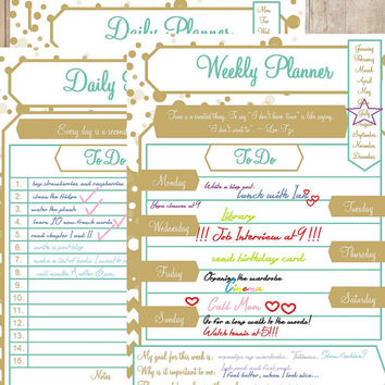 Daily and Weekly Planner / PDF/ Size A4 / Instant Download / Two-Pack