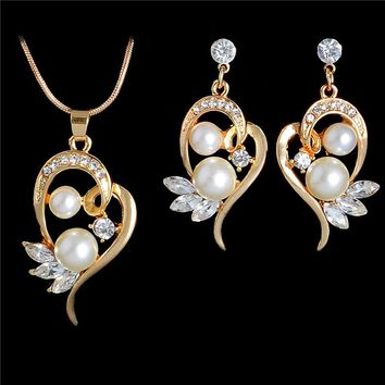 Fashion Simulated Pearl Jewelry Sets for Wedding Cute Flower Stud Earrings Crystal Wings Pendant Necklace Gold Color Chain