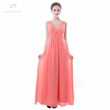 LANSITINA Burgundy Bridesmaids Dresses A Line Chiffon Sexy V-Neck In Stock Women's Light Pink Wedding Prom Dress for Bridesmaid