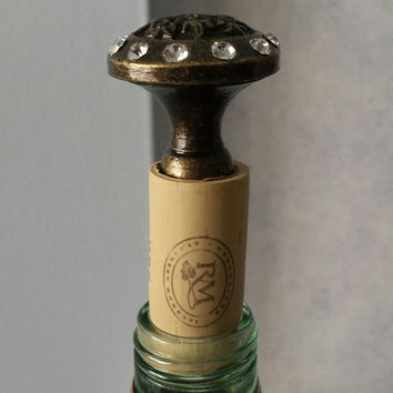 Bronze Jeweled Wine Bottle Cork - Bronze and Crystal Bottle Stopper
