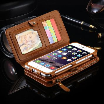 FLOVEME Retro Vintage Wallet Case for iPhone 7 /6 for iPhone 7 Plus /6s 6 Plus Leather Cover Original Brand Card Slot Phone Bags