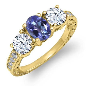 2.42 Ct Purple Blue Mystic Topaz 18K Yellow Gold Plated Silver Ring