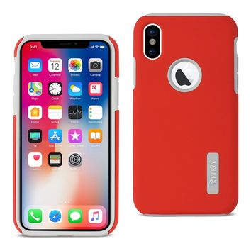 iPhone X Solid Armor Dual Layer Protective Case In Red