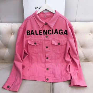 Pink Balenciaga Fashion Denim Cardigan Jacket Coat