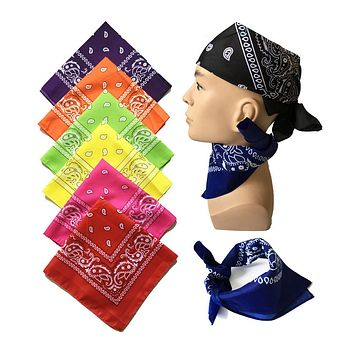 2017 Charming Sales 100% Cotton 55Cm*55Cm Black Red Paisley Printed Bandanas For Women/Men/Boys/Girls