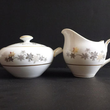 Mid Century Empress China Golden Silhouette sugar and creamer set, Japan, foliage gold trim