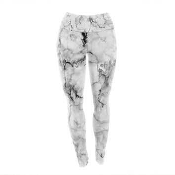 "Chelsea Victoria ""Marble No 2 "" Black Modern Yoga Leggings"