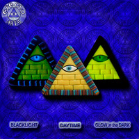 EyeGloArts blacklight Psytrance GLOW in the dark jewelry rave candy Illuminati all seeing eye gold pyramid pendant clubwear