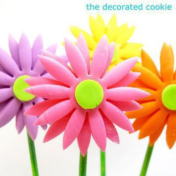 the decorated cookie: fondant gerbera daisies (on cookie pops)