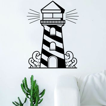 Light House Traditional Tattoo Decal Sticker Wall Vinyl Art Home Decor Ocean Beach Nautical Beautiful Waves