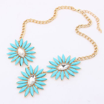 Aqua Bohemian Necklace,Sunflower Short Necklace,Jcrew Style Pop Jewelry, Free Gift Box Packaging Available