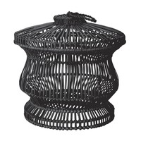 Black Split Rattan Spoke Bin