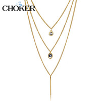 Evil Eye Long Maxi Necklace Crystal Gold Multi-Layer Chain Statement love Jewelry For Women 2016 new Vintage Accessories Gifts