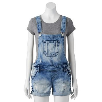 Wallflower Cross Back Denim Overall Shorts - Juniors, Size:
