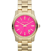 Michael Kors Mid-Size Golden Stainless Steel Pink-Face Three-Hand Watch