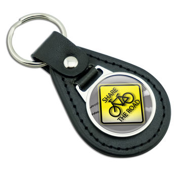 Share The Road Bicycle Stylized Yellow Grey Sign Black Leather Keychain