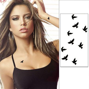Wrist Flash Tattoo Fake Tattoo Birds Design Waterproof Temporary Tattoo Sticker For Body Art Women Flesh Tattoos 10.5*6 cm 0060