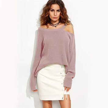 Loose Longline Fit Sweater Cut Out Shoulder Pullover Fall  Fashion Women