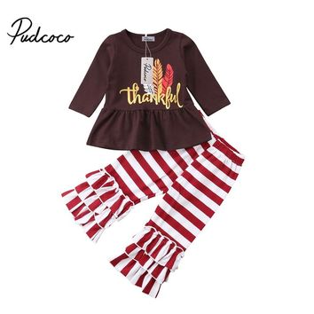 Pudcoco Kids Baby Girl Thanksgiving Clothes Set Letter Print T-Shirt Stripe Pants Leggings Outfits Winter Boutique Clothing
