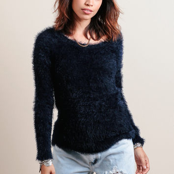 Open Back Raglan Sweater By Chaser