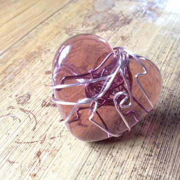 Pink heart tile wire ring Size 8 by EwelinaPas on Etsy