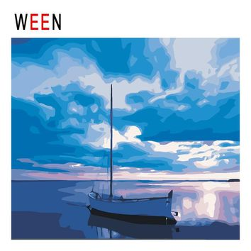 WEEN Quiet Sea Boat Diy Painting By Numbers Abstract Blue Sky Oil Painting On Canvas Cuadros Decoracion Acrylic Wall Art 2018
