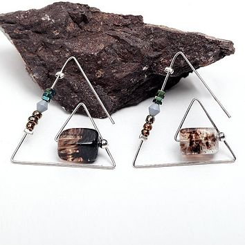 WILD & FREE Natural Stone Open Triangle Dangle Drop Earrings