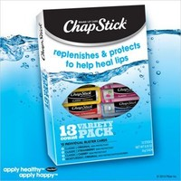 Chap Stick Lip Balm Variety Pack Assorted Flavors Original, Strawberry, Moisturizer, and Cherry (Pack of 13)
