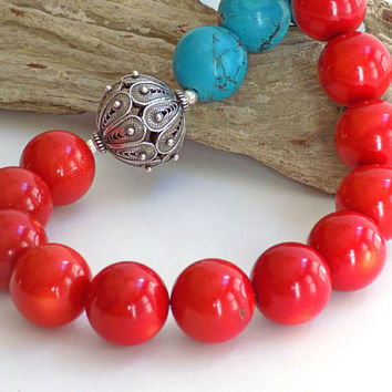 Red Statement Necklace, Short Necklace, Blue Stone Necklace, Handcrafted Jewelry, Coral Necklace for Women, Gemstone Necklace, Gift for Her