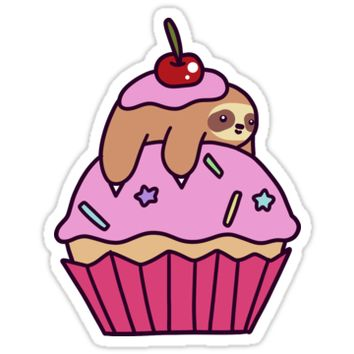 'Cupcake Sloth' Sticker by SaradaBoru