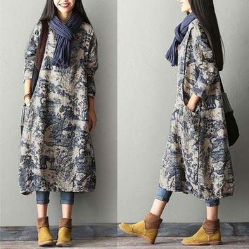 BUYKUD 2018 Women Winter Printing Split Dress Robe Vintage Round Neck Long Sleeve Casual Loose Long Dresses With Pockets