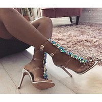 Rhinestone Buckle Fashion Women Peep Toe High Heels Shoes