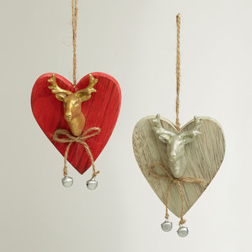 Stag Head Heart Wooden Ornaments, Set of 2 - World Market
