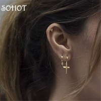 SOHOT Classic Tiny Unisex Cross Pendant Hoop Earrings Trendy Gold Silver Color Jewelry Accessories For Birthday Major Brincos
