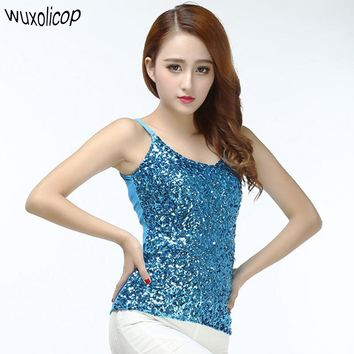 Women Stage Costumes Bling Sequin Spaghetti Strap Vest Tank Top Sexy Simple Club wear V Neck Backless Camisole
