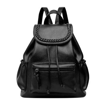 Casual Soft PU Washed Leather Backpack Bags Black Leisure Travel Bag Boutique