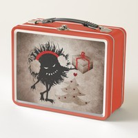 Evil Bug Gives Christmas Present Metal Lunch Box