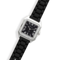 Black Rubber Fashion Watch with Square Face