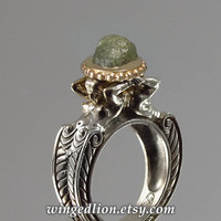 3.74ct Rough Diamond CARYATID ring in silver and 14K gold